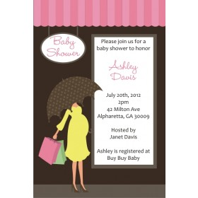 Shopping Mama Baby Shower Invitation - Pink