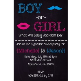 Gender Reveal Mustache Lips Chalkboard Style Baby Shower Invitation