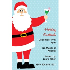Santa with Cocktail Holiday Christmas Party Invitation