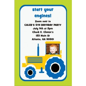 Yellow and Blue Tractor Invitation with Optional Photo