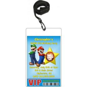 Super Mario Luigi VIP Pass Invitation with Lanyard